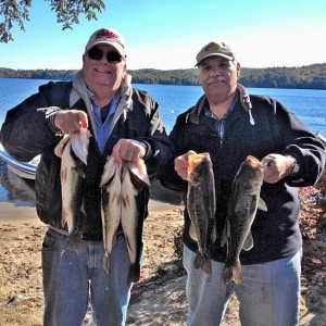 Alex Murray and John DiStefano with their five fish bag on Suncook Lake 2014.